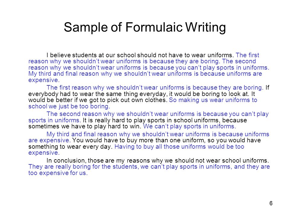 Sample of Formulaic Writing
