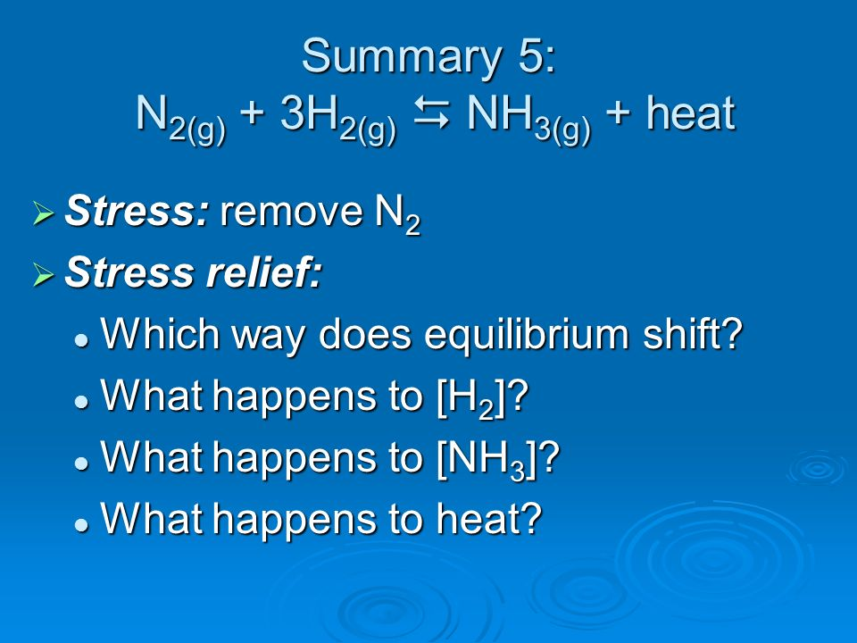 Summary 5: N2(g) + 3H2(g)  NH3(g) + heat