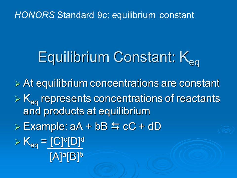 Equilibrium Constant: Keq