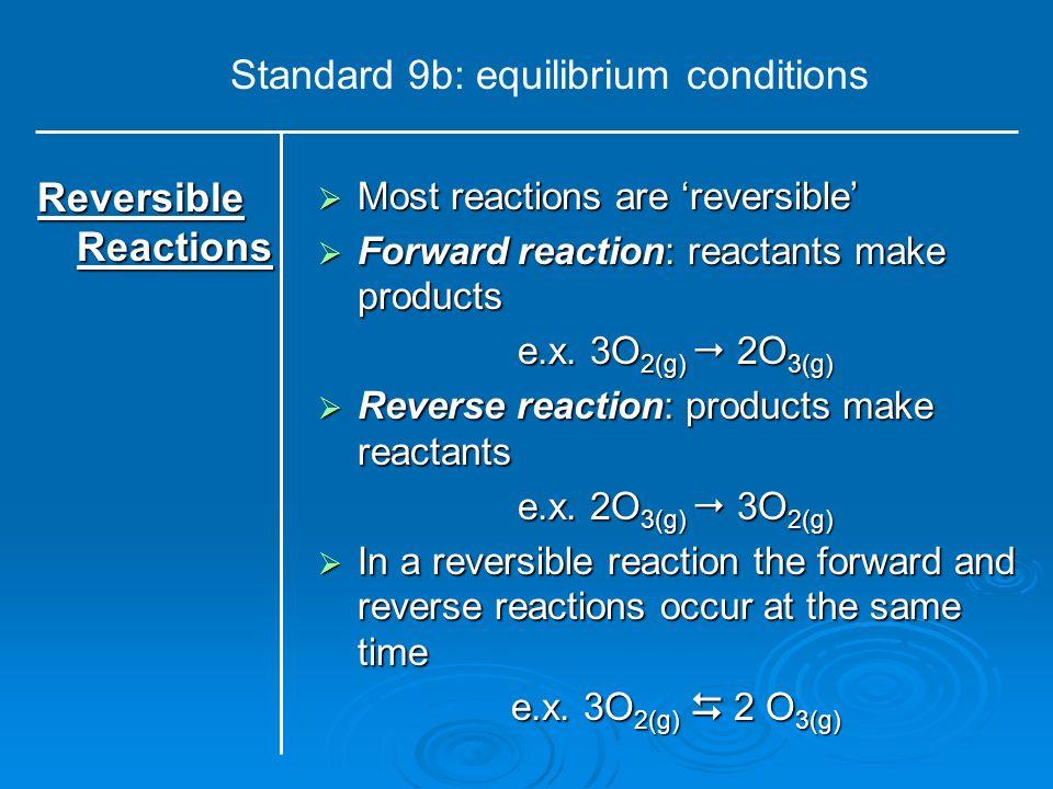 Standard 9b: equilibrium conditions