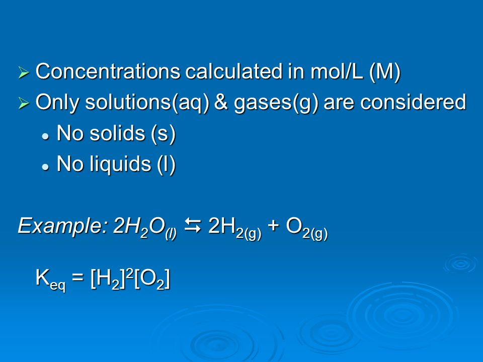 Concentrations calculated in mol/L (M)