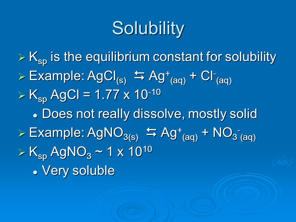 Solubility Ksp is the equilibrium constant for solubility