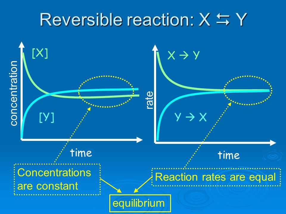 Reversible reaction: X  Y