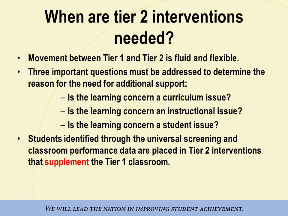 When are tier 2 interventions needed
