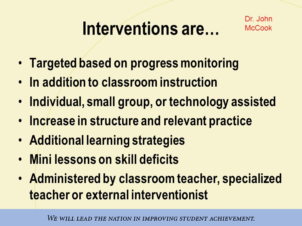 Interventions are… Targeted based on progress monitoring