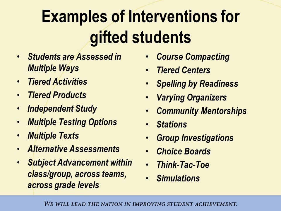 Examples of Interventions for gifted students