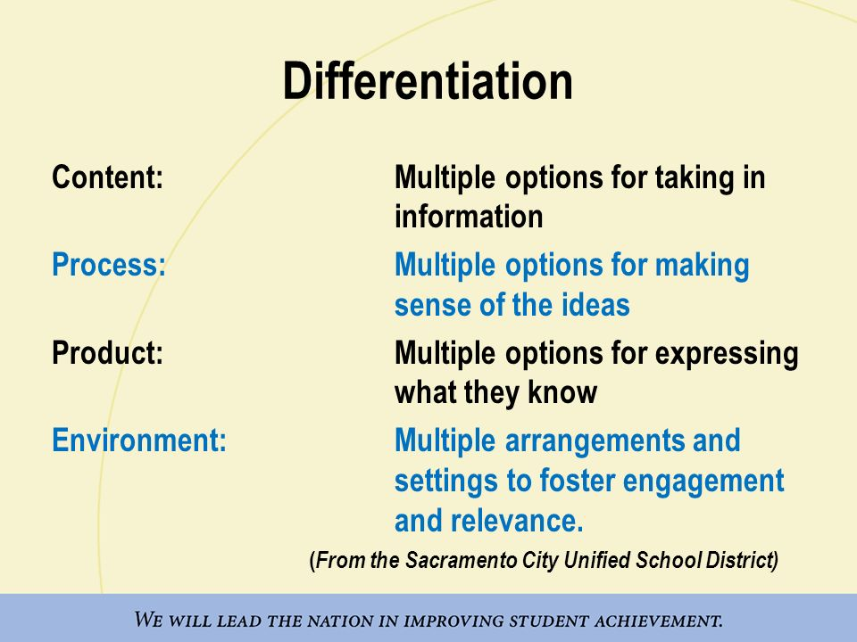 Differentiation Content: Multiple options for taking in information