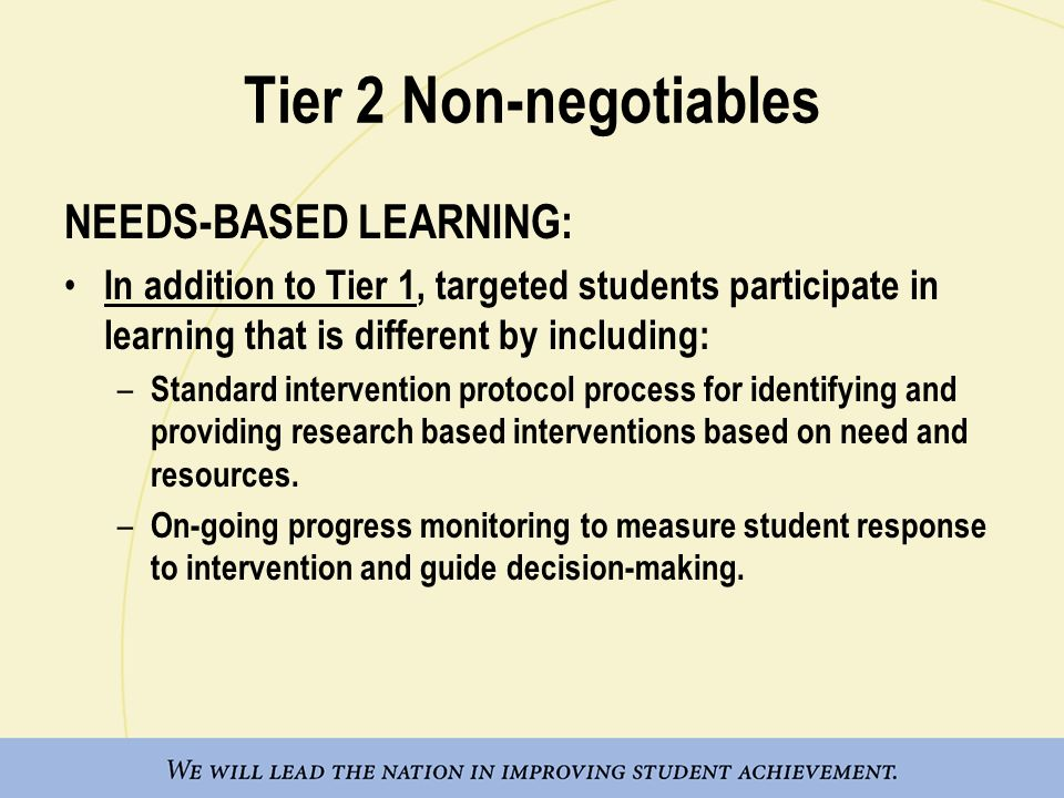 Tier 2 Non-negotiables NEEDS-BASED LEARNING: