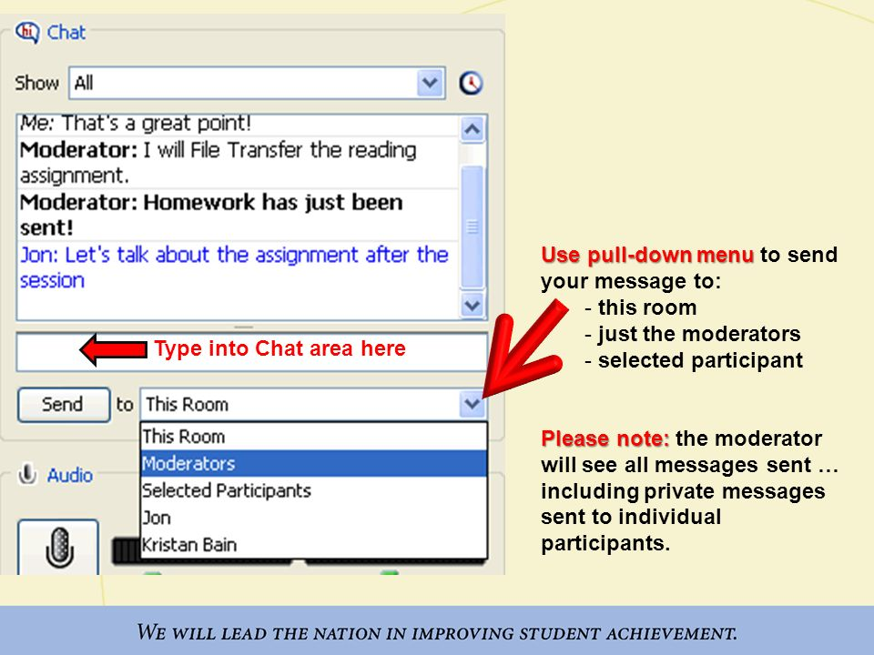 Use pull-down menu to send your message to:
