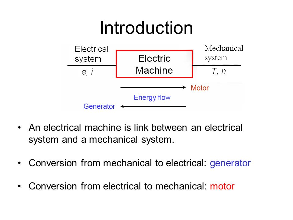 Introduction An electrical machine is link between an electrical