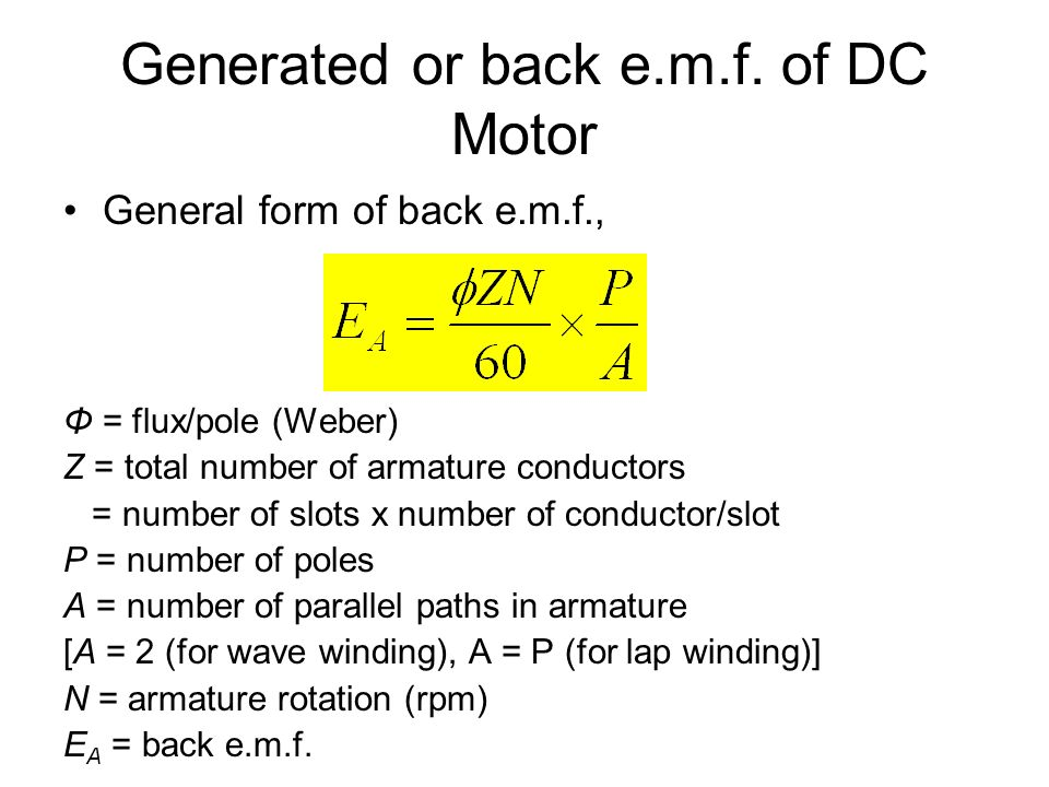 Generated or back e.m.f. of DC Motor
