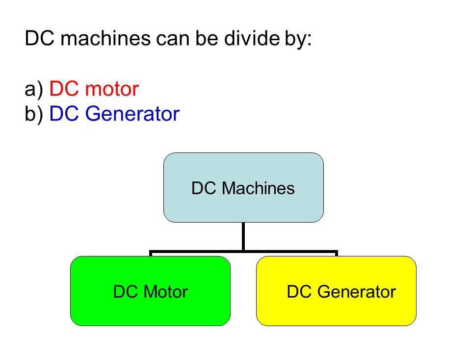 DC machines can be divide by: a) DC motor b) DC Generator