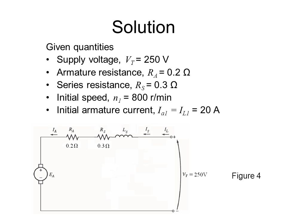 Solution Given quantities Supply voltage, VT = 250 V