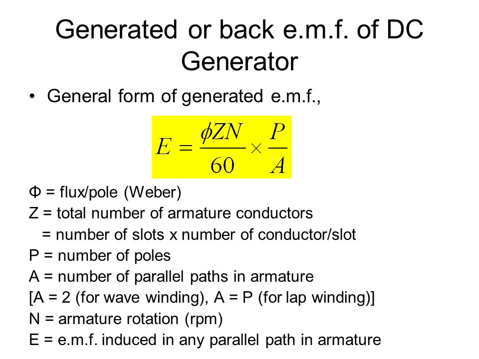 Generated or back e.m.f. of DC Generator