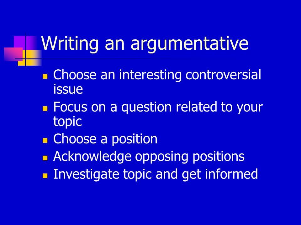 Writing an argumentative