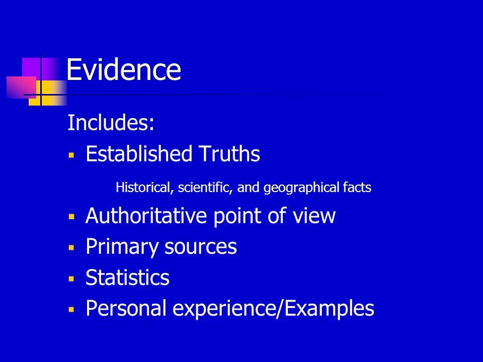 Evidence Includes: Established Truths