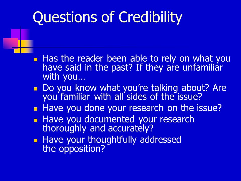 Questions of Credibility