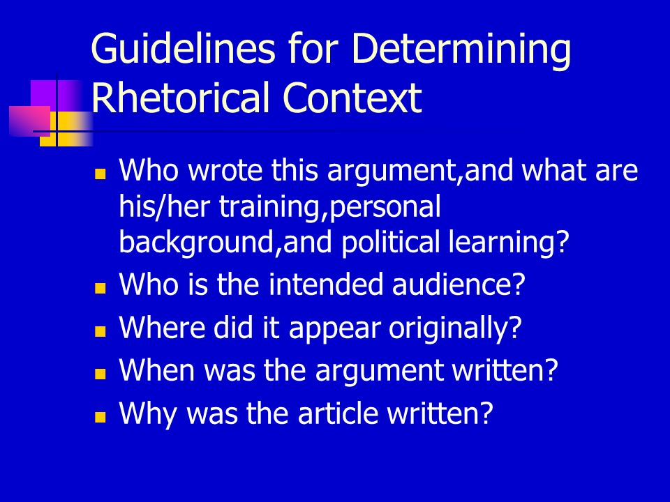 Guidelines for Determining Rhetorical Context