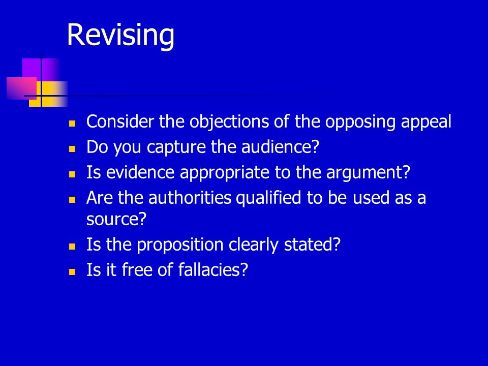 Revising Consider the objections of the opposing appeal