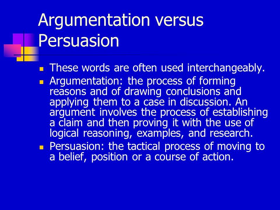Argumentation versus Persuasion