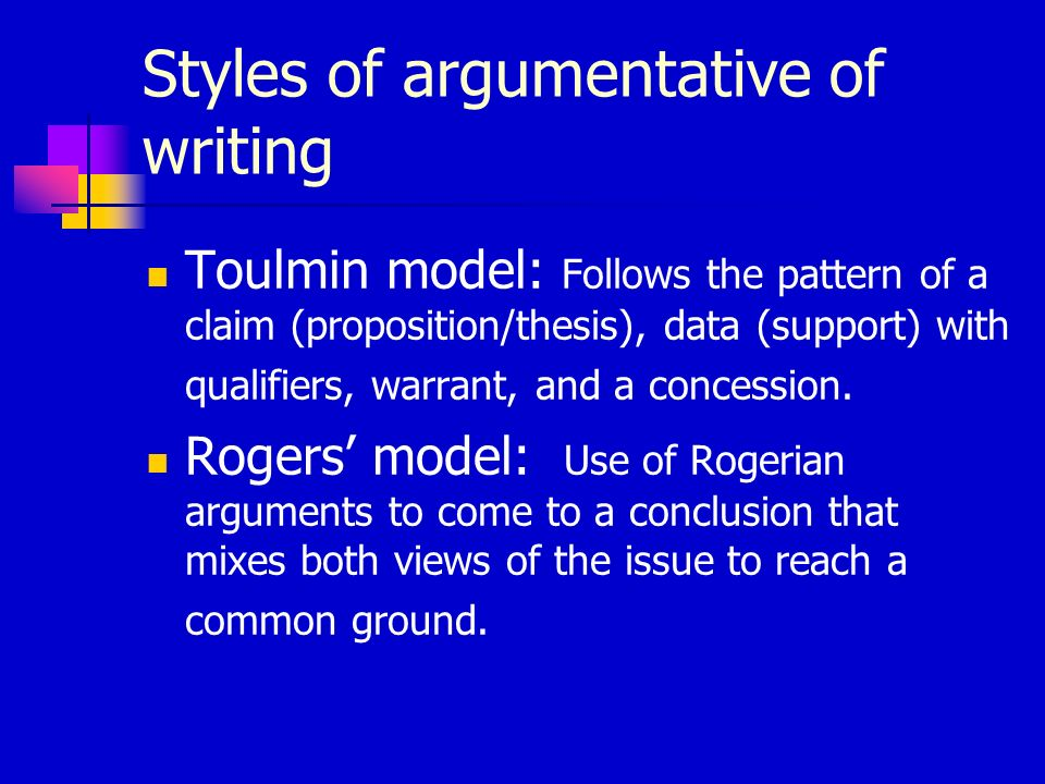 Styles of argumentative of writing