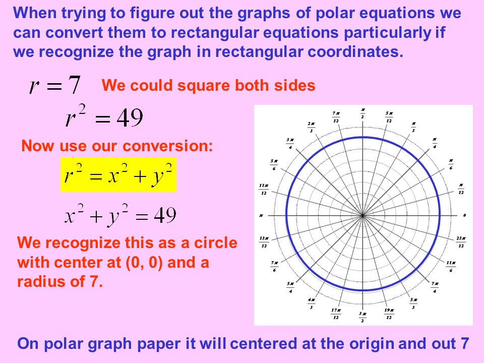 When trying to figure out the graphs of polar equations we can convert them to rectangular equations particularly if we recognize the graph in rectangular coordinates.