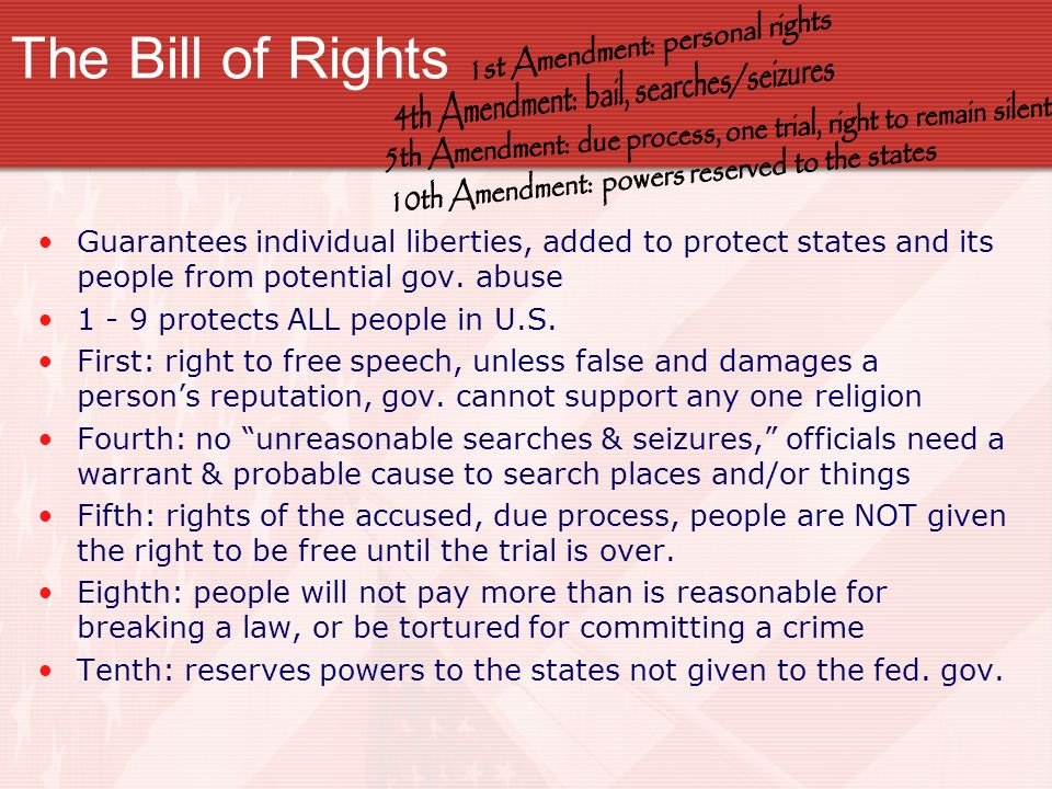 The Bill of Rights 1st Amendment: personal rights. 4th Amendment: bail, searches/seizures.