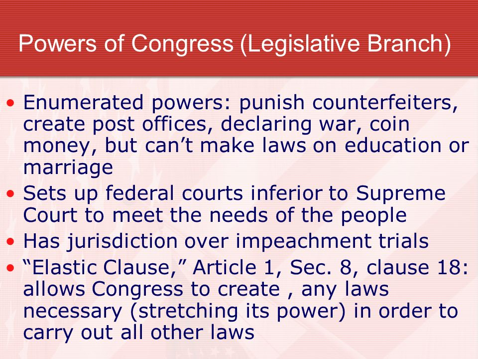 Powers of Congress (Legislative Branch)