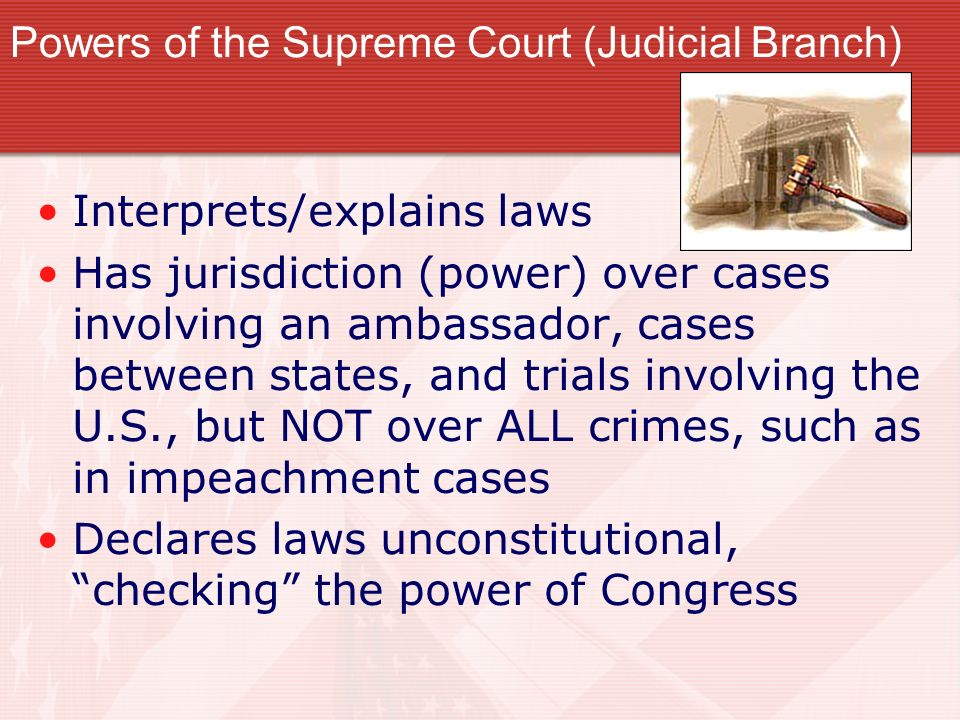 Powers of the Supreme Court (Judicial Branch)