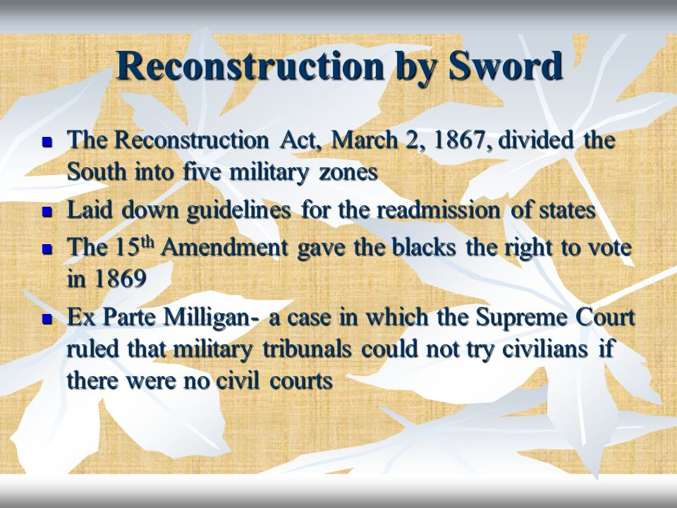 Reconstruction by Sword