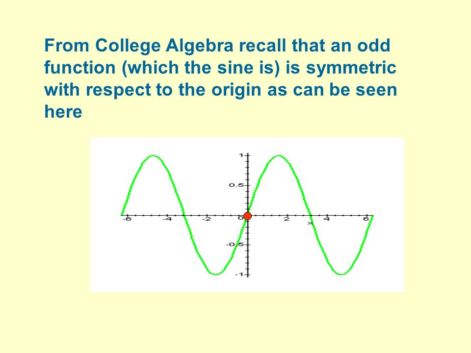 From College Algebra recall that an odd function (which the sine is) is symmetric with respect to the origin as can be seen here