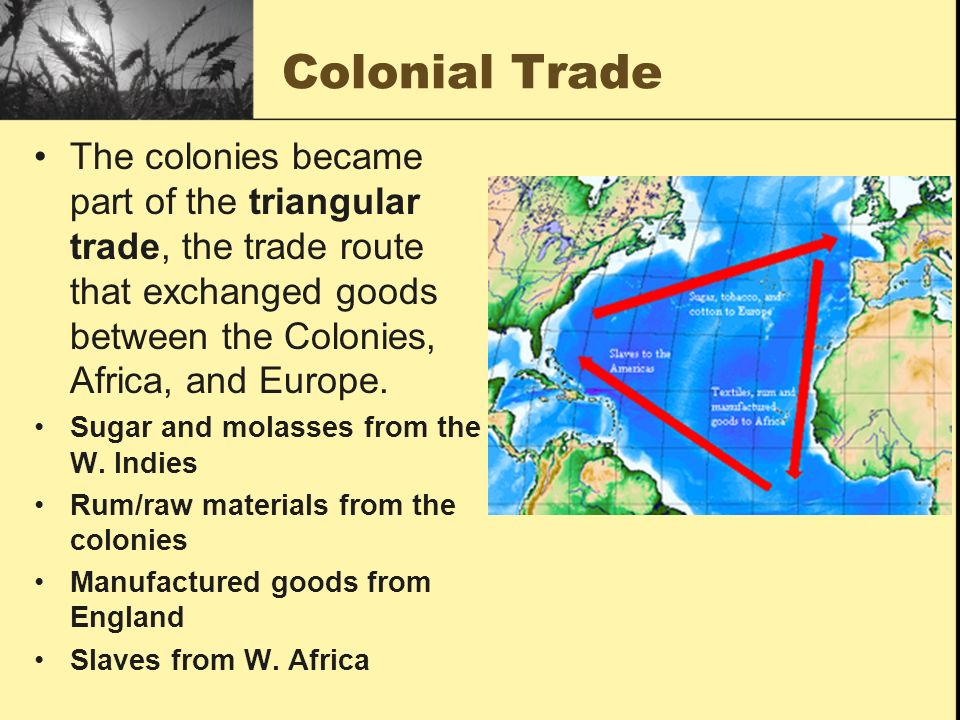 Colonial Trade The colonies became part of the triangular trade, the trade route that exchanged goods between the Colonies, Africa, and Europe.