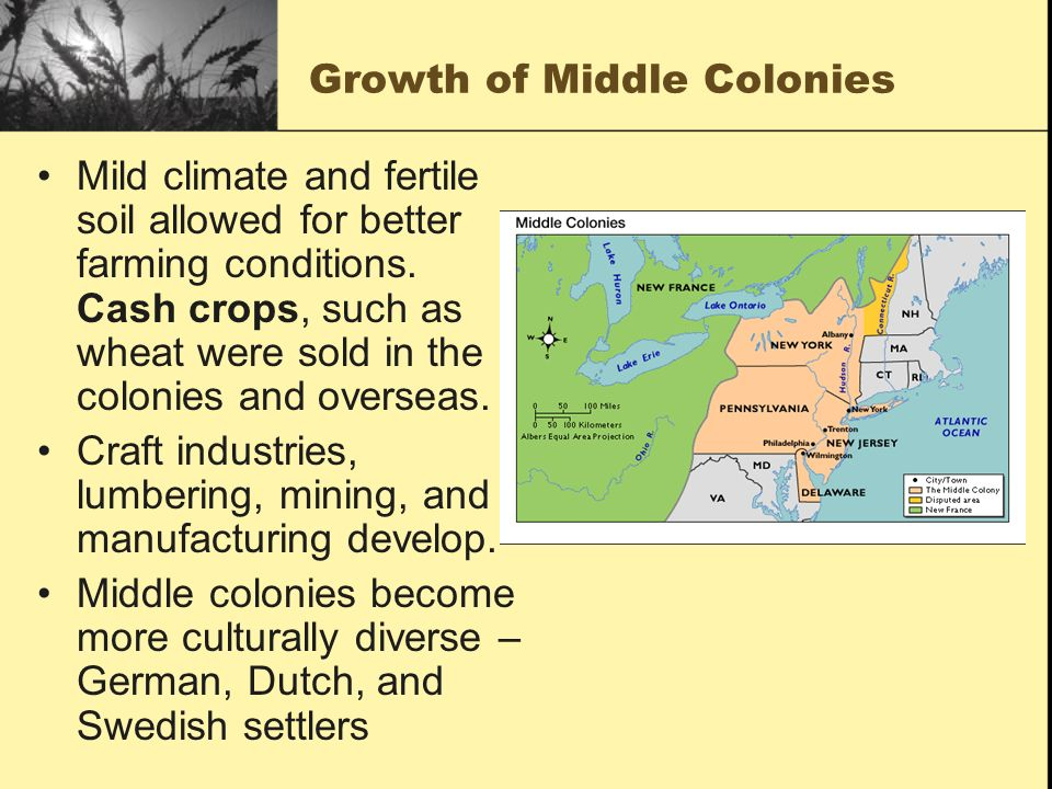 Growth of Middle Colonies