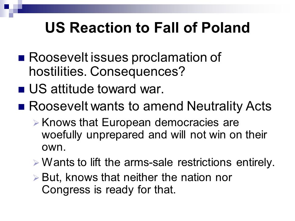 US Reaction to Fall of Poland