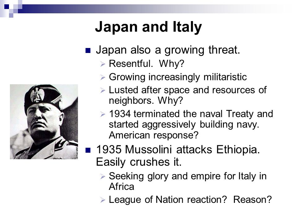 Japan and Italy Japan also a growing threat.