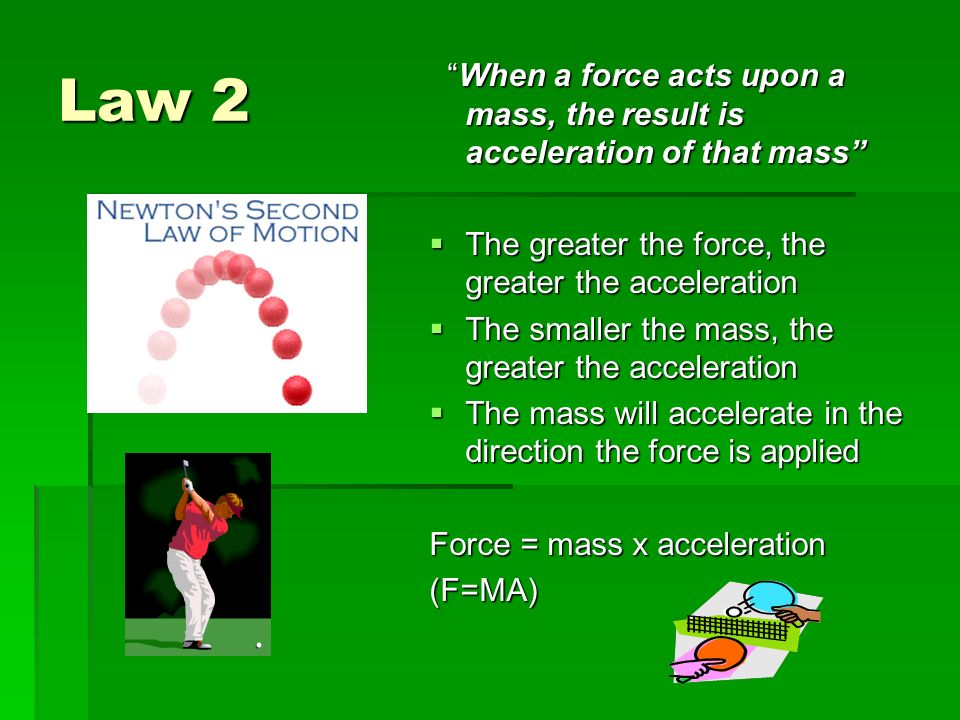 effect of force and mass on acceleration essay Whether you are serving, bumping, or spiking, gravity will affect every interaction  you  meanwhile, gravity is exerting a downward force on the volleyball  you  can figure out the velocity of a volleyball shot by dividing the distance your ball.