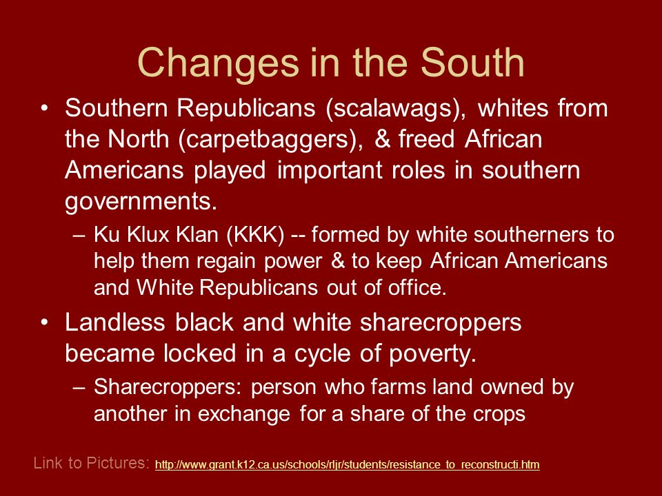 Changes in the South