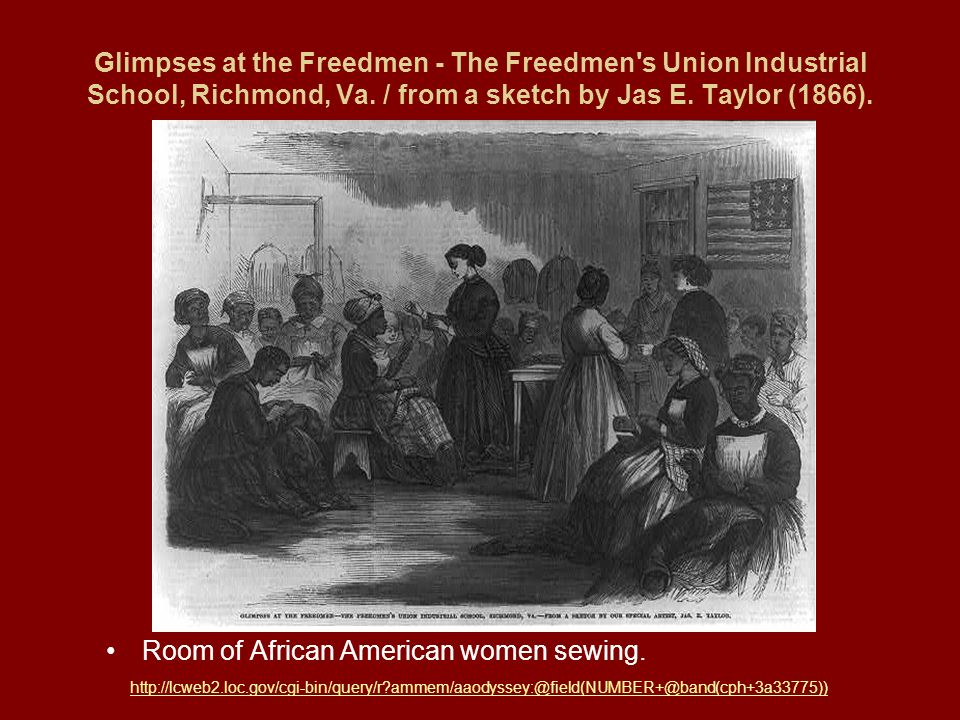 Room of African American women sewing.