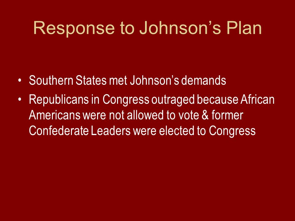 Response to Johnson's Plan