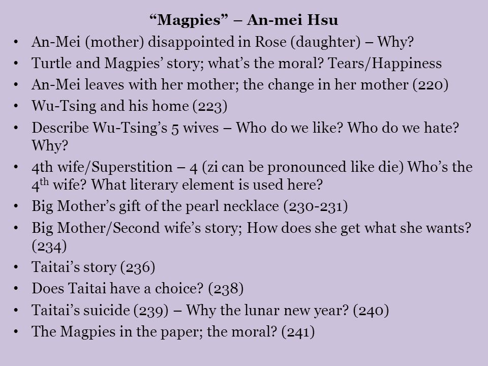 a literary analysis of an mei hsu versus rose hsu jordan Sacrifice/suffering-both sacrifice and suffering demonstrate the ultimate bond between the mothers and the daughter in this novel the story of an-mei hsu's mother is a very accurate example of this theme.