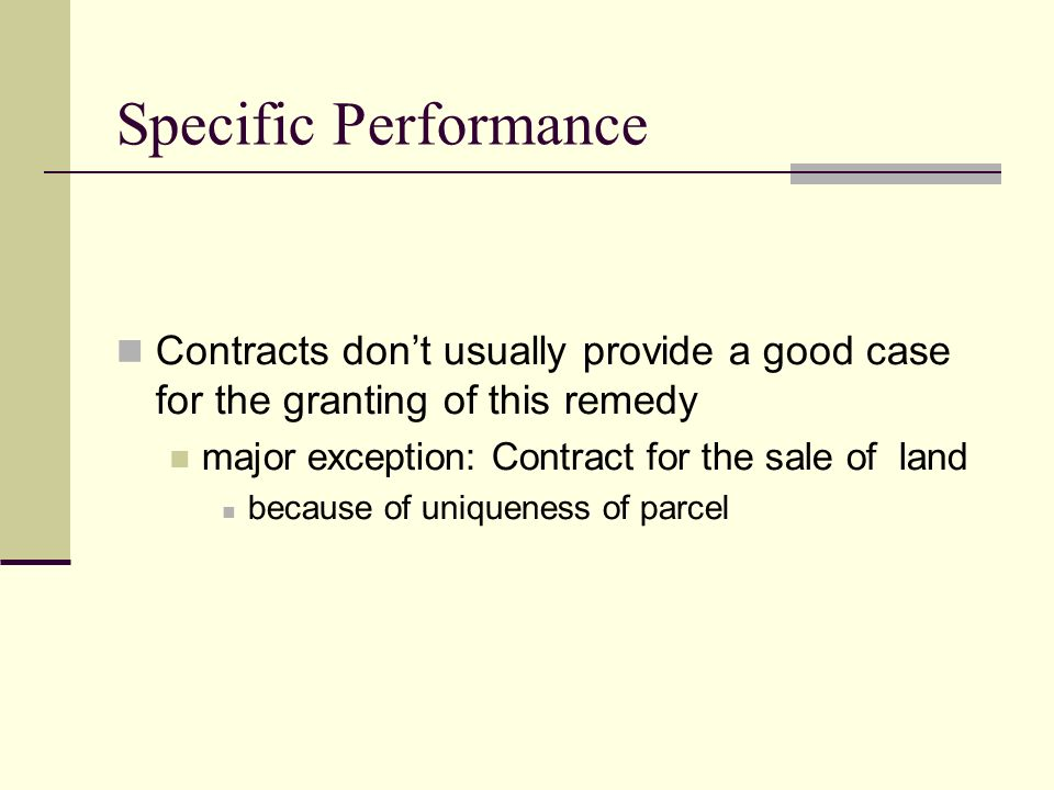 remedies contract and specific performance Specific performance is an equitable remedy available for breach of contract  which requires the contract breaker to fulfil their contractual.