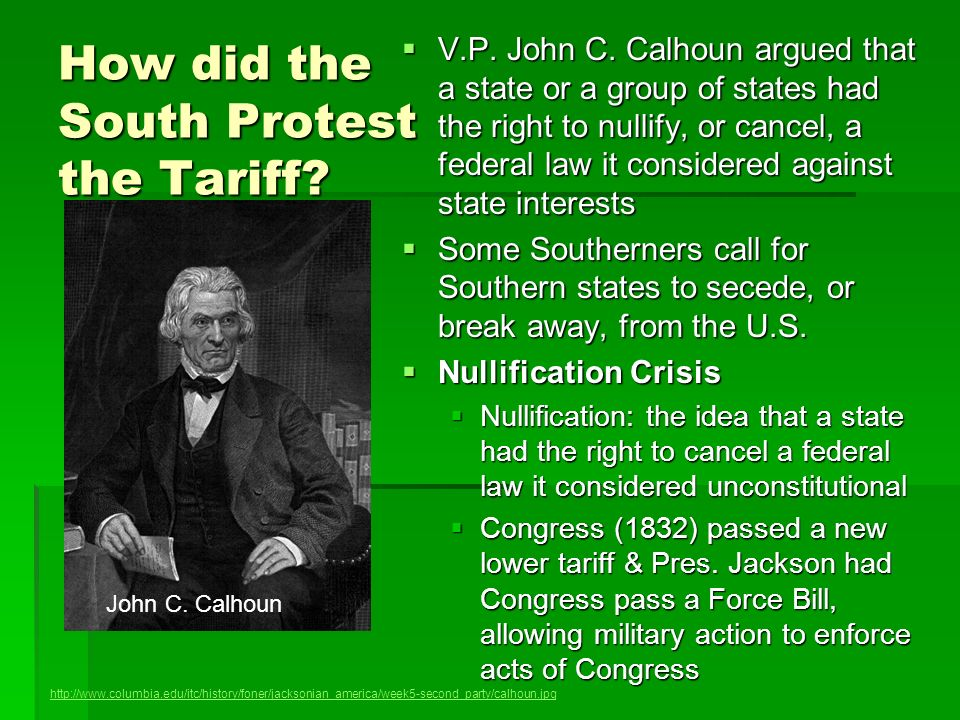 How did the South Protest the Tariff