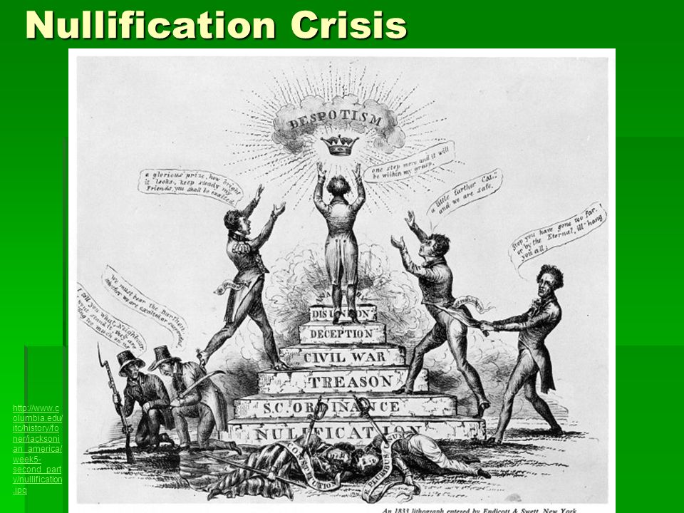 Nullification Crisis http://www.columbia.edu/itc/history/foner/jacksonian_america/week5-second_party/nullification.jpg.