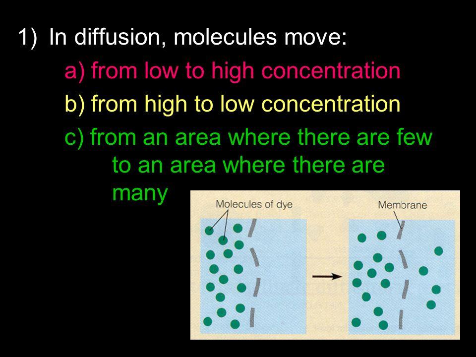 In diffusion, molecules move: