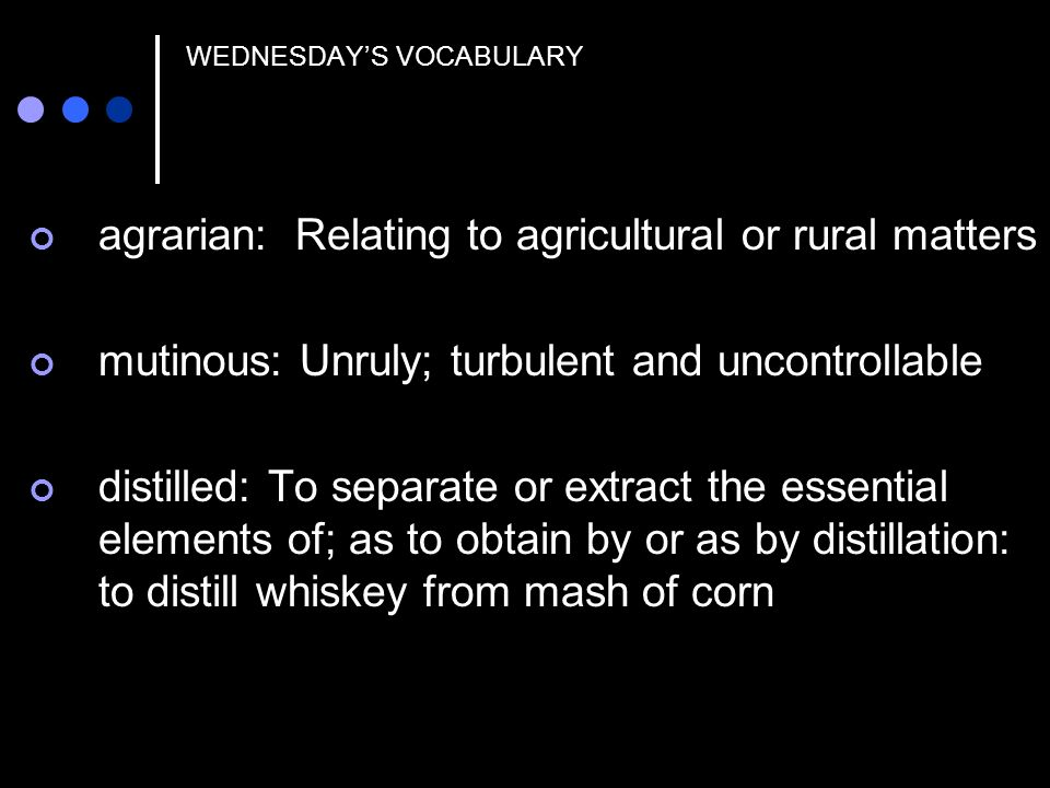 WEDNESDAY'S VOCABULARY