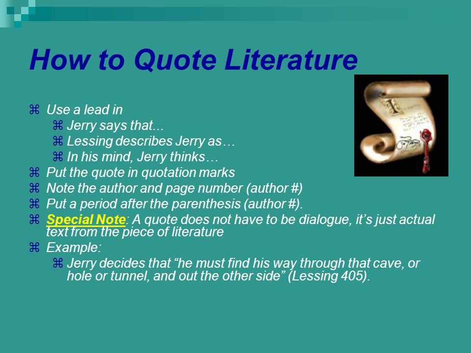 How to Quote Literature
