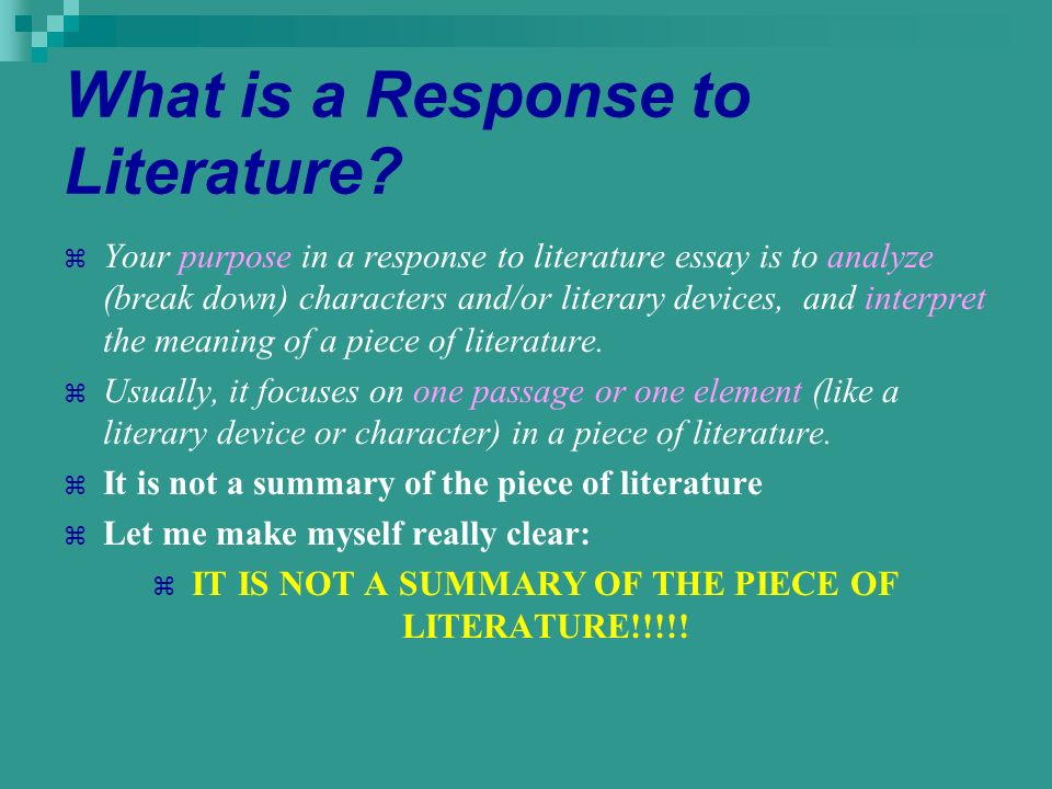 litrature essay Students are asked to write literary analysis essays because this type of assignment encourages you to think about how and why a poem, short story, novel, or play was written.