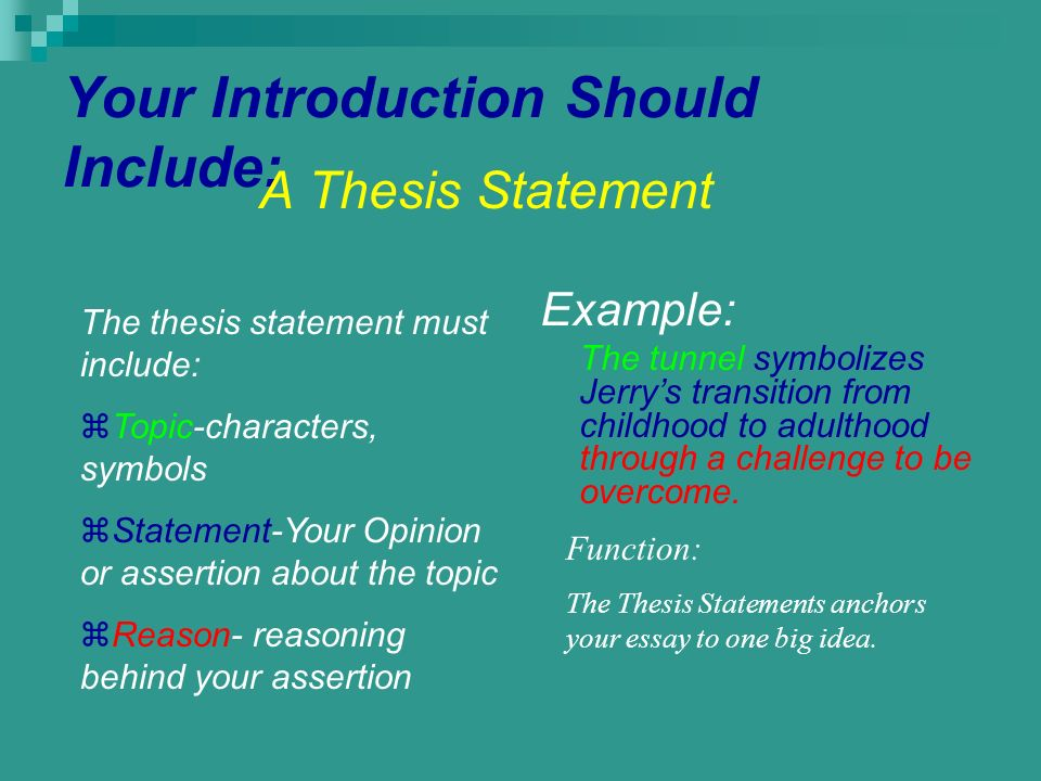 The Writer'S Thesis Statement Should Include _____