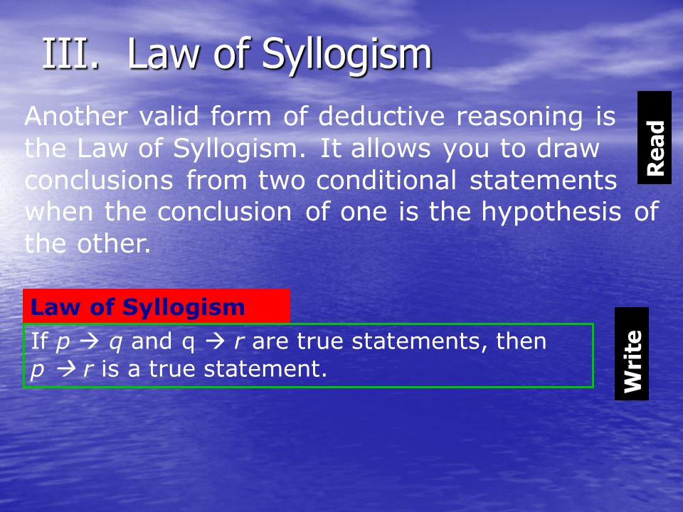 III. Law of Syllogism