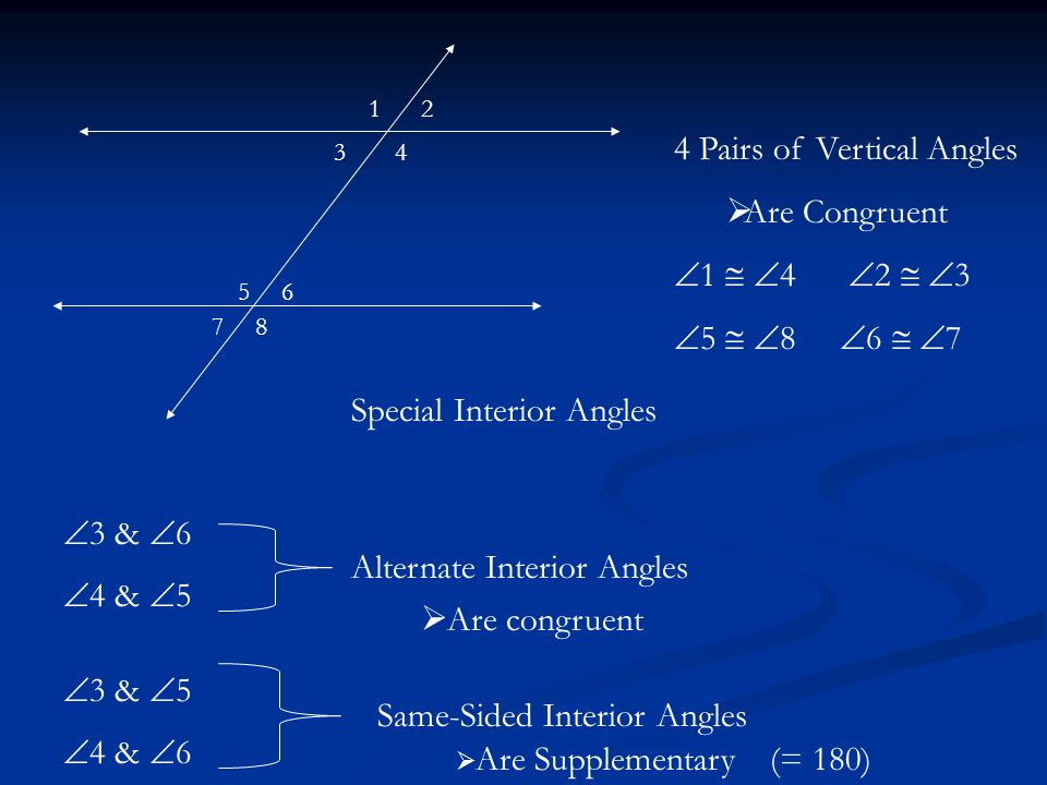 4 Pairs of Vertical Angles Are Congruent 1  4 2  3
